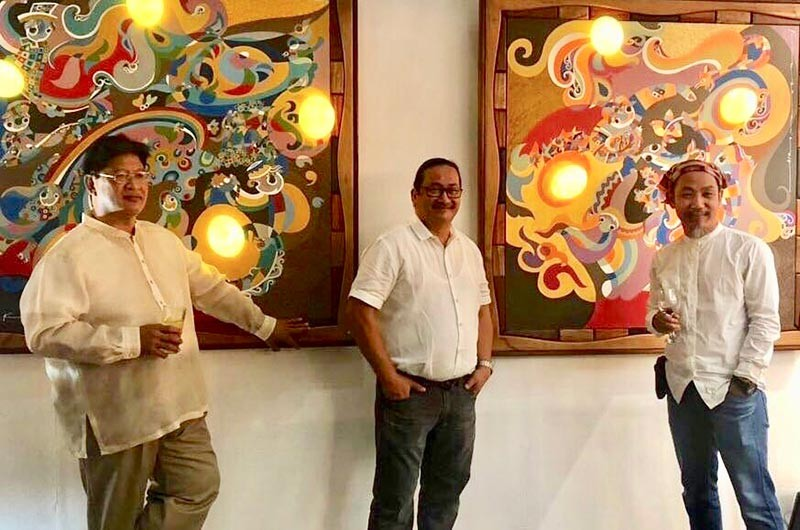 DAVAO. The three artists. ManilArt curator and egg sculptor Danny Rayos del Sol, wood artist Agi Pagkatipunan, and Mindanao artist Kublai Millan. (Contributed photo)