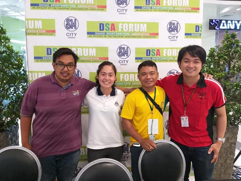MPG FOOTBALL. From left Xavier University coach Lanz Torrecha, Ateneo de Davao University's Celine Jaldon, Ramon Magsaysay Memorial College's Zeus Sayson and Usep Davao coach Leonard Yu are guests at DSA Forum on Thursday, November 8. (MLSA)