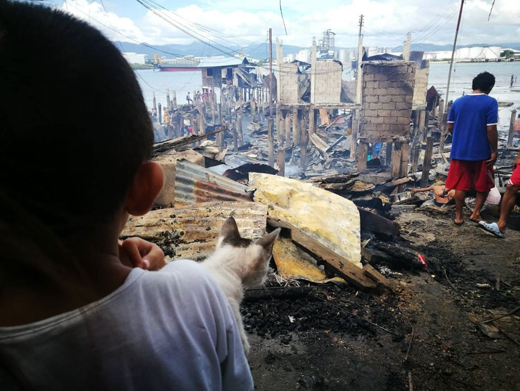 CEBU. A young boy and his cat look at what is left of the fire that hit two sitios in Barangay Pajo in Lapu- Lapu City. (SunStar photo/Allan Cuizon)
