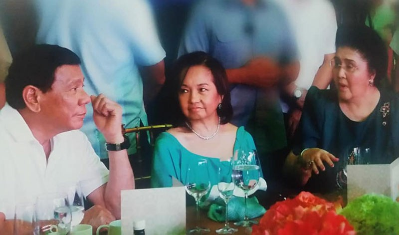 MANILA. In this photo posted on August 14, 2018 on the Imelda Romualdez Marcos Facebook page, the former first lady (right) is seen with House Speaker Gloria Macapagal-Arroyo and President Rodrigo Duterte. (Imelda Romualdez Marcos Facebook)