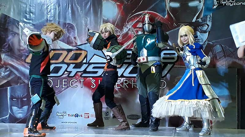 The participants cosplaying as Bakugo Katsuki from Boku no Hero Academia, Kamen Rider, and Saber from Fate/Stay Night for the solo category of the Cosplay Competition. (Jo Ann Sablad)