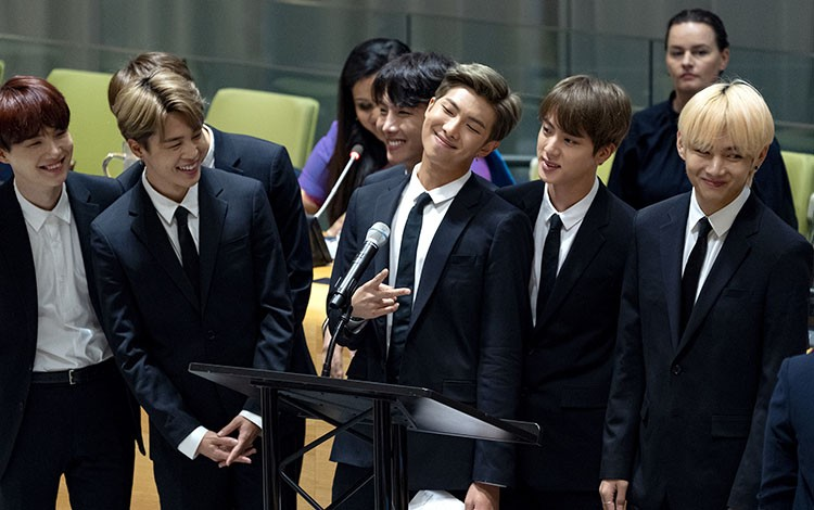 SOUTH KOREA. In this Sept. 24, 2018, file photo, members of the Korean K-Pop group BTS attend a meeting at the United Nations high level event regarding youth during the 73rd session of the United Nations General Assembly at U.N. headquarters. The agency for the South Korean band BTS on Wednesday, Nov. 14, 2018, has apologized for a member wearing a T-shirt depicting the explosion of an atomic bomb.(AP Photo)