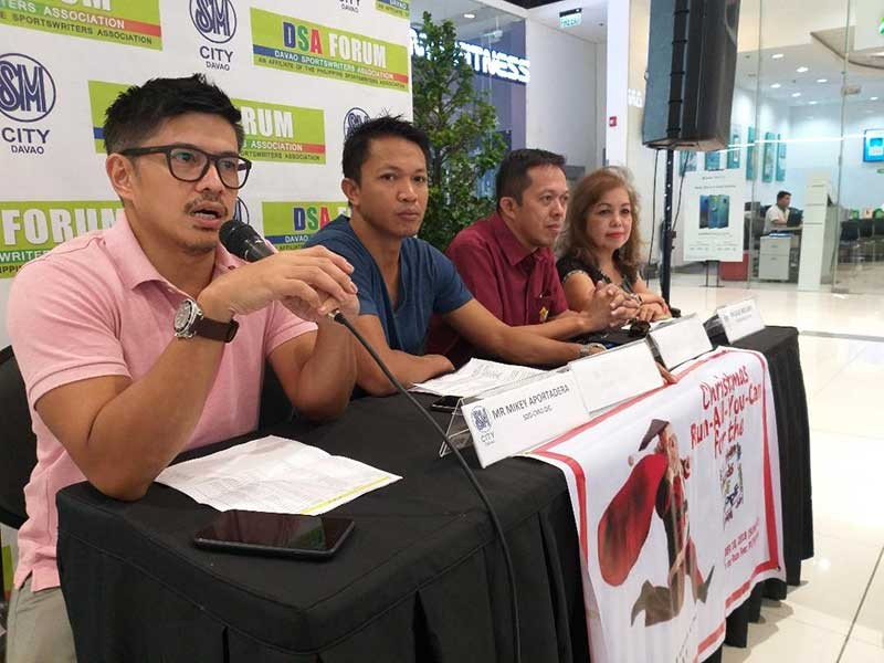 DAVAO. Sports Development Division of the City Mayor's Office (SDD-CMO) officer-in-charge Mikey Aportadera, left, leads DSA Forum guests at The Annex of SM City Davao yesterday. Also in photo are Holiday Gym and Spa sales marketing officer Ted Uy, Roy Linao of House of Hope and Davao Regional Dancesports Council-Professional Division president Lilli Arellano. (Marianne L. Saberon-Abalayan)