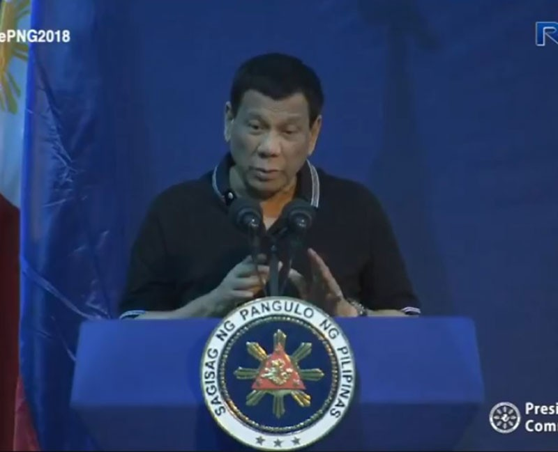 PAPUA NEW GUINEA. President Rodrigo Duterte speaks before the Filipino community in Papua New Guinea on November 16, 2018. (Photo from RTVM video)