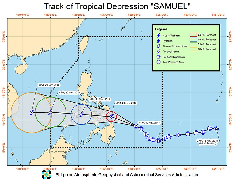 Satellite track image of Tropical Depression Samuel (Philippine Atmospheric, Geophysical and Astronomical Services Administration)