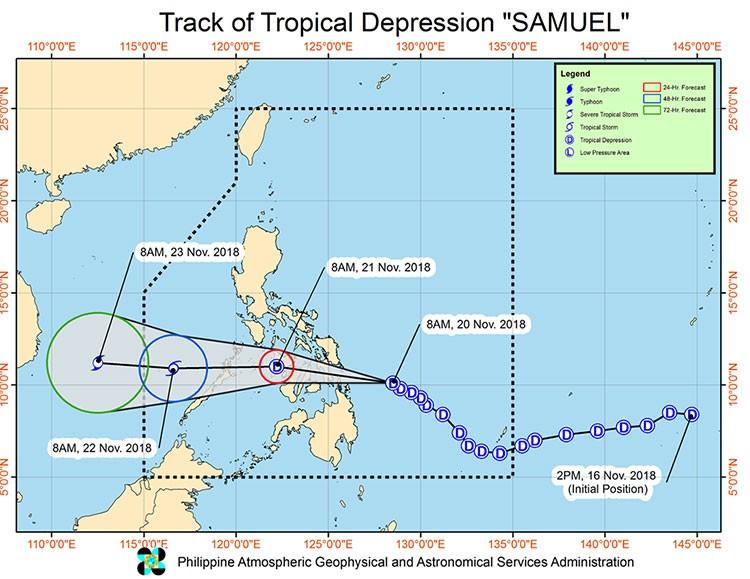 Track of Tropical Depression Samuel (Source: Pagasa)