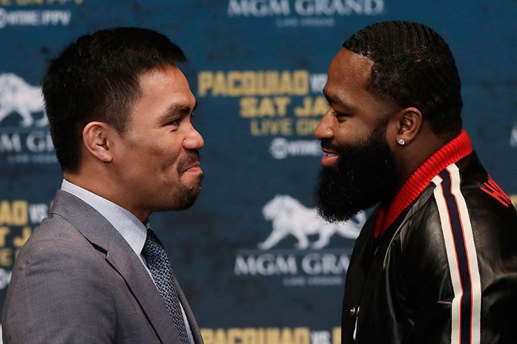 USA. Manny Pacquiao (left) and Adrien Broner attend a news conference, Monday, November 19, 2018, in New York. (AP)