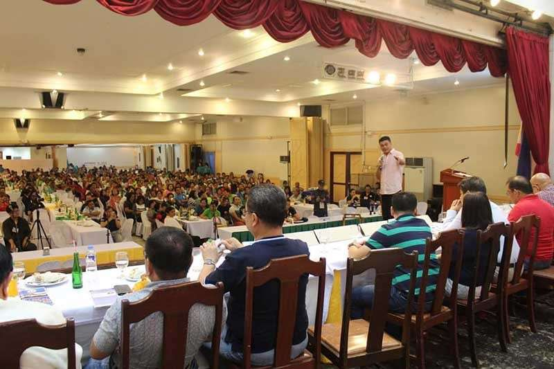 Cagayan de Oro City Vice Mayor Kikang Uy gives his speech to local and national housing experts and various stakeholders during the 2nd Housing Summit on Tuesday, November 20, at the Grand Caprice Restaurant. (Contributed photo)