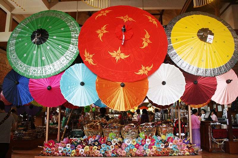 THAILAND. Different sizes of umbrellas are available in the shop. (Claire Marie Algarme)