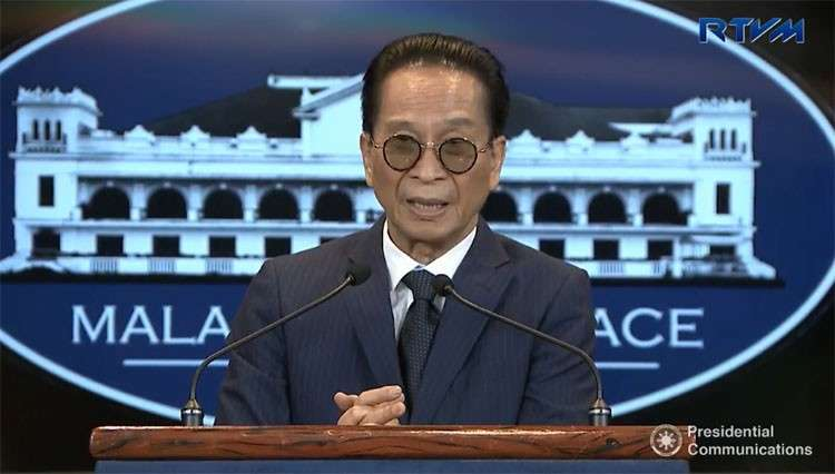 MANILA. Presidential Spokesperson Salvador Panelo holds a press briefing in Malacañang. (Screenshot from RTVM video)