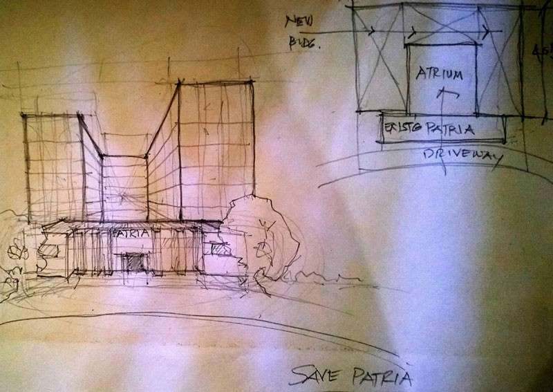 CEBU. Initial sketch of Patria de Cebu coexisting with new buildings rising behind it. (By Architect Melva R. Java)