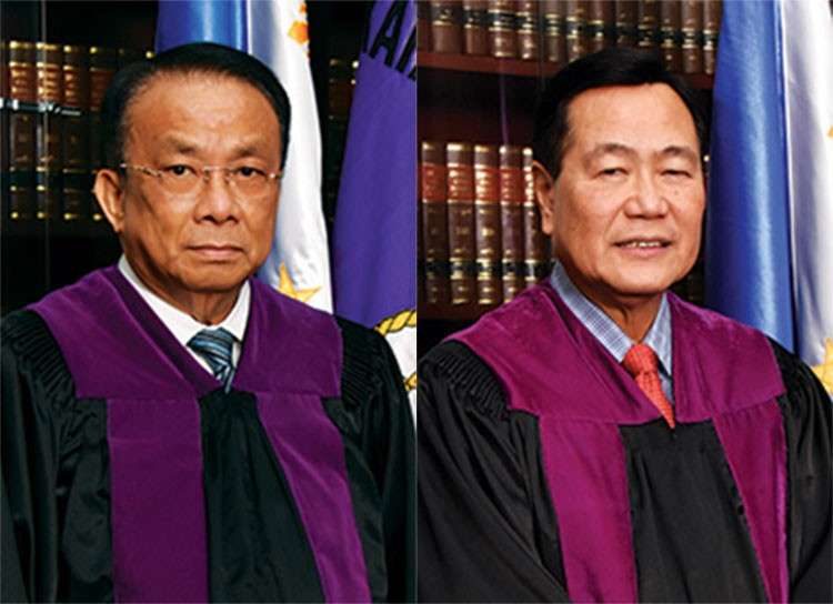 Associate Justice Lucas Bersamin (left) and   Senior Associate Justice Antonio Carpio. (Photos   from Supreme Court website)