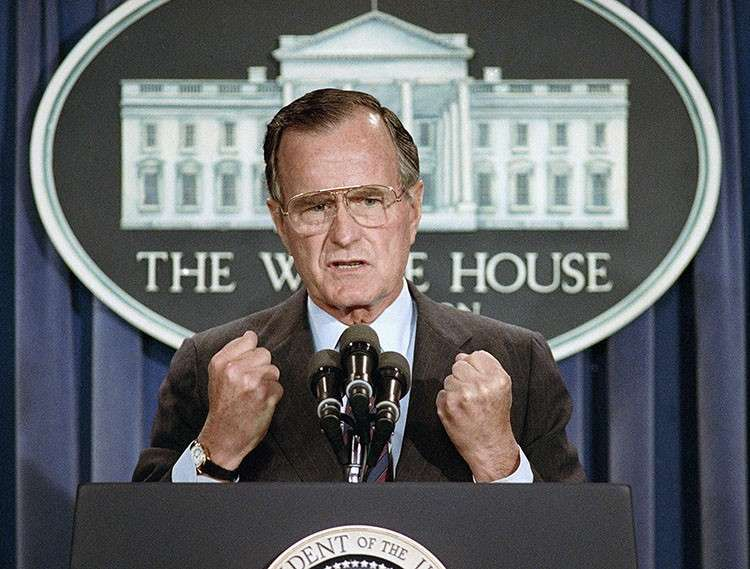 WASHINGTON. In this June 5, 1989 file photo, United States President George H.W. Bush holds a news conference at the White House in Washington where he condemned the Chinese crackdown on pro-democracy demonstrators in Beijing's Tiananmen Square. Bush died at the age of 94 on Friday, November 30, 2018, about eight months after the death of his wife, Barbara Bush. (AP Photo)