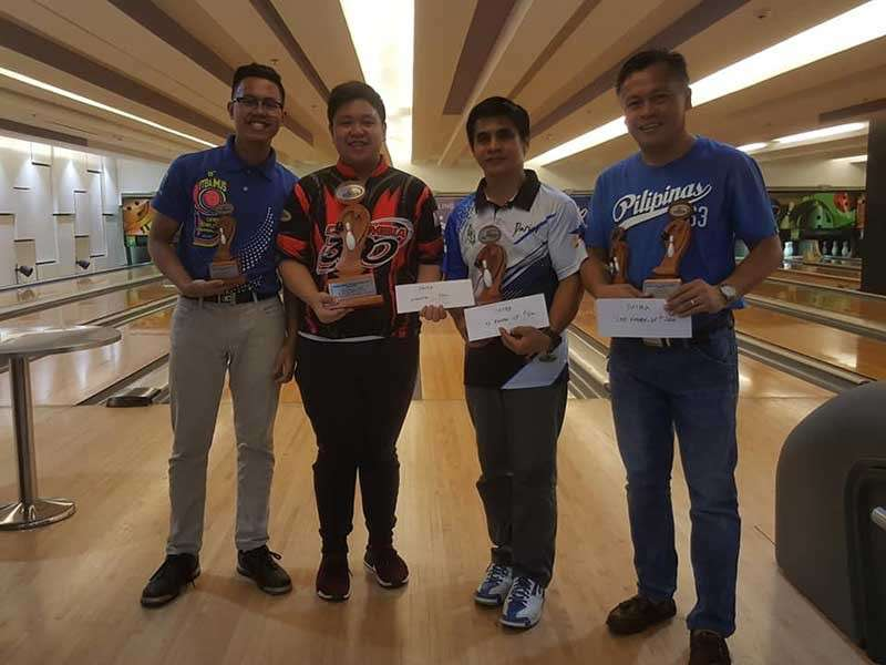 DAVAO. The top four of the recently-concluded Datba Monthly finals tournament at SM Lanang Premier Bowling Center, from left, fourth placer John Sia, champion Uree Uy, runner-up Darius Beloy and third placer Art Galendez. (Jesrael Rule/Datba)
