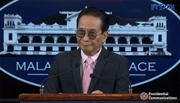 MANILA. Presidential spokesperson Salvador Panelo in a press briefing in Malacanang. (Screenshot from RTVM video)