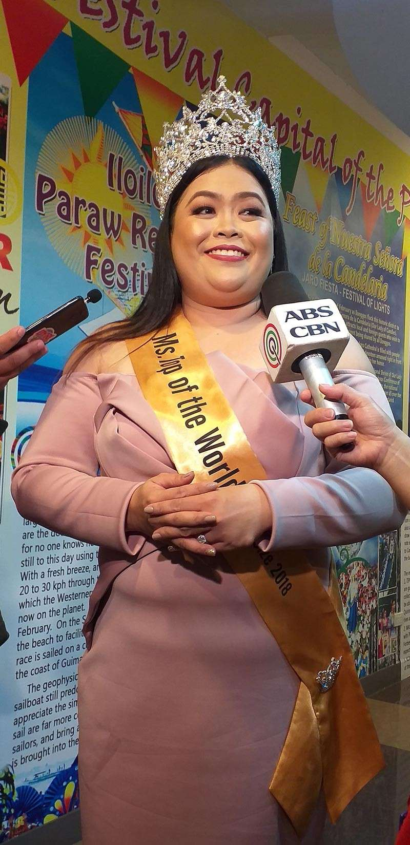 ILOILO. Miss Top of the World-Plus Size 2018 winner Charlene Pagayon Rosco in a media interview on Monday, December 3, at the Iloilo City Hall. (Carolyn Jane Abello)