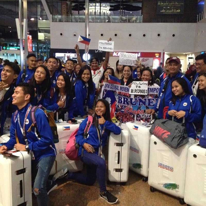DAVAO. Davao City athletes and coaches, representing Mindanao-Philippines in the 10th BIMPNT-Eaga Friendship Games 2018, are welcomed by members of the OFW Global Movement Empowerment at the Brunei International Airport late Tuesday evening, December 4, 2018. (Emilio Lacanario Facebook)