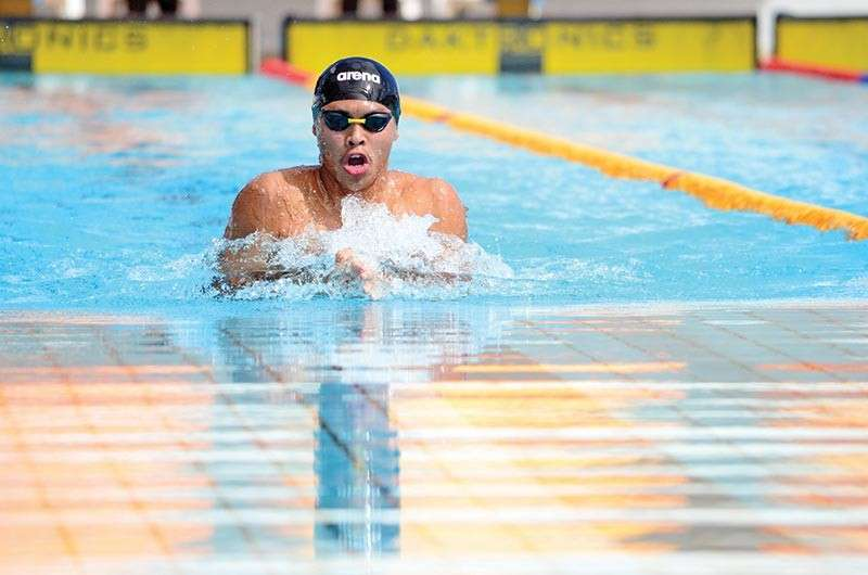 BRUNEI. Davao City's Fritz Jun Rodriguez races to clinch the men's 50-meter breastroke gold medal for Mindanao-Philippines in the 10th BIMPNT-Eaga Friendship Games 2018 at the Hassanal Bolkiah National Sports Complex in Bandar Seri Begawan, Brunei Thursday morning. (Skippy Lumawag/SDD-CMO)