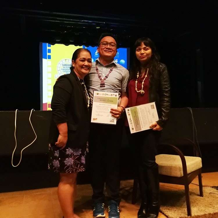 CAGAYAN DE ORO. Xavier University's VP for mission and ministry Irene Guitarte (leftmost) acknowledges the common message that XCCA director Hobart Savior (center) and filmmaker Ara Chawdhury (rightmost) relayed in their lectures: the value local narratives through the film. (Angelo Lorenzo)