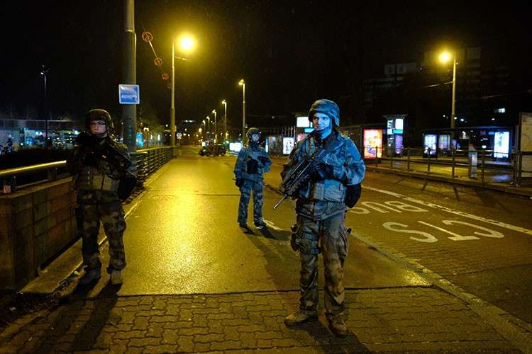FRANCE. Soldiers patrol in Strasbourg, eastern France, after a shooting Tuesday December 11, 2018. French prosecutors say a terror investigation has been opened into the shooting at a Christmas market in Strasbourg that has left two dead and up to eight wounded, including several in critical condition. (AP Photo)