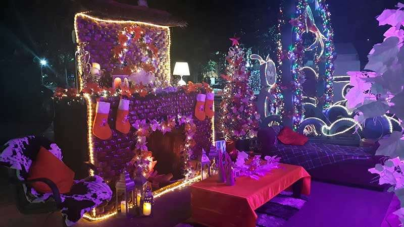 Barangay 17's Christmas Icon is a chimney and fireplace setup made from indigenous materials. (Jo Ann Sablad)