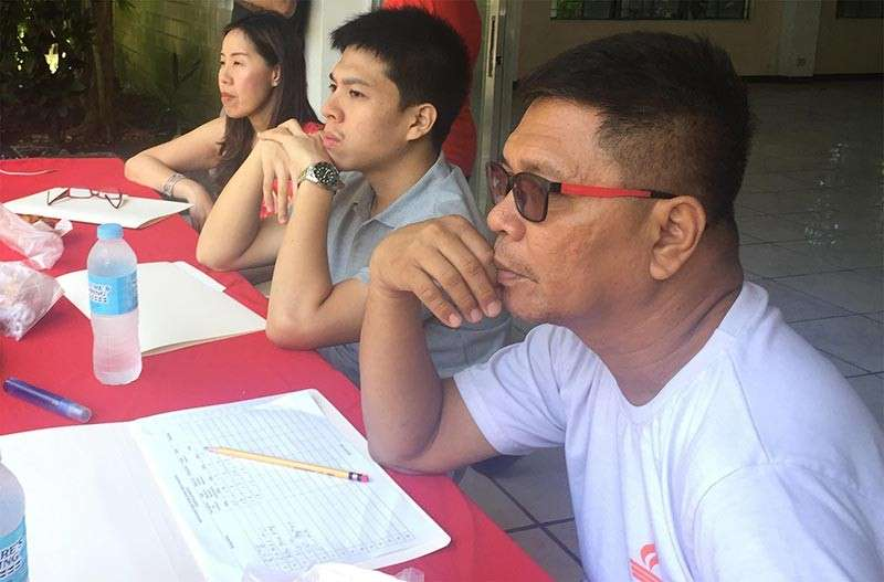 BACOLOD. Judges during the screening for the 14th Bacolaodiat Festival Lantern Dance Competition were festival chair Oddette Gomez, Bobby Cordova, and Rudy Reveche in Yong Tho Taoist Temple on Sunday, December 9. (Contributed photo)
