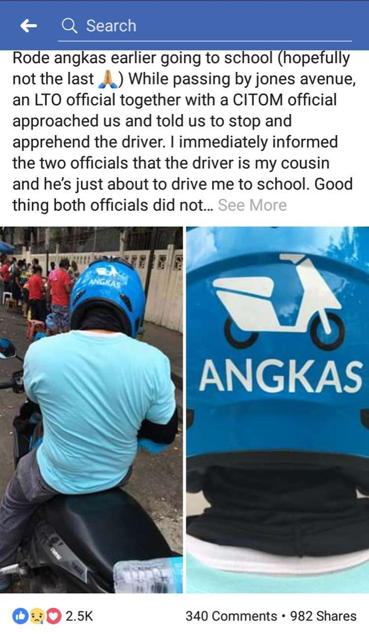 CEBU. Angkas drivers are getting some love from patrons as they will be jobless just before Christmas. (Lifted from Facebook)