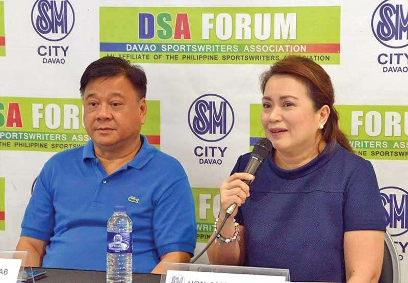 DAVAO. Davao City Councilor Mabel Acosta, during Thursday's Davao Sportswriters Association (DSA) Forum at The Annex of SM City Davao, says the 15th Acosta Cup ladies football tournament will donate 15 balls to the city for the marginalized youth. Also in photo is former third district representative Isidro Ungab. (DSA)