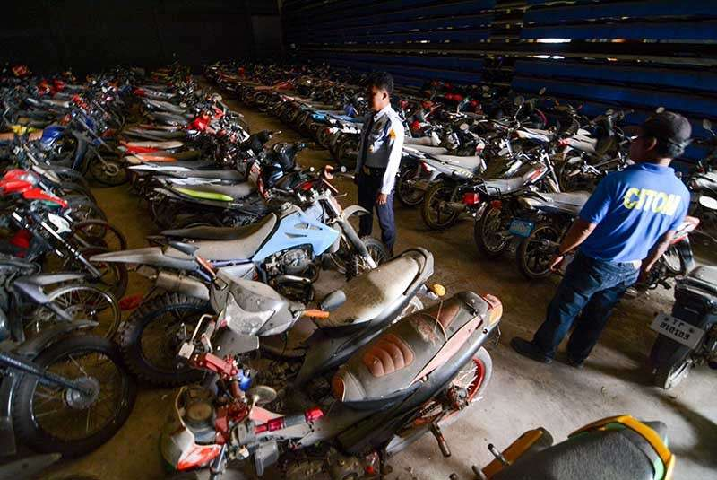 FOR RELEASE. Motorcycles impounded for traffic violations will be released by the Cebu City Transportation Office following the Supreme Court's decision declaring Angkas and habal-habal motorcycles illegal. (SunStar photo/Arni Aclao)