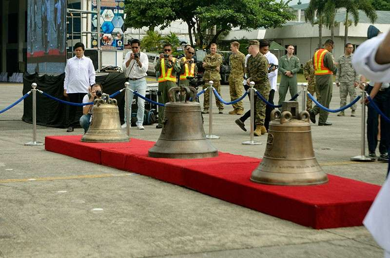 MANILA. The three Balangiga bells that were handed over to the Philippine government Tuesday, December 11, 2018, are displayed at the Villamor Air Base. (Al Padilla/SunStar Philippines)