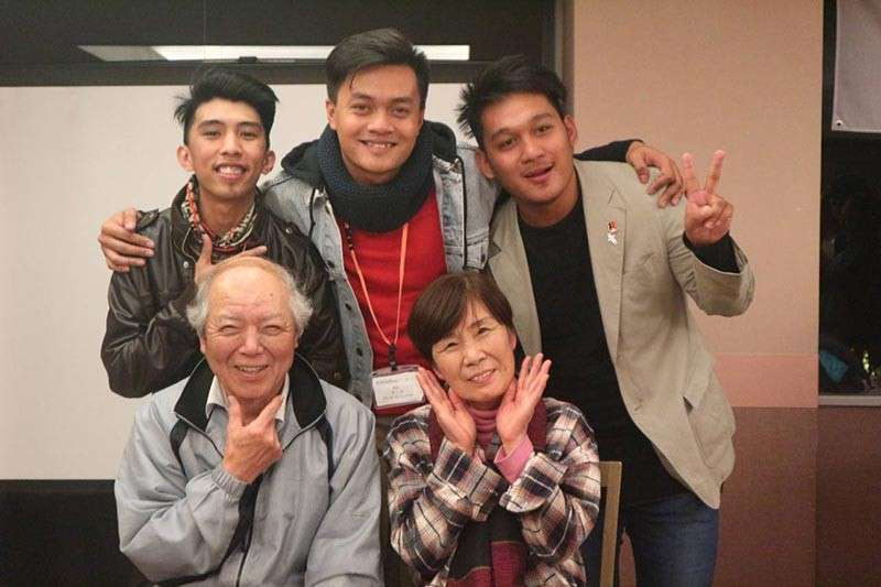 JAPAN. This writer, Cedrix, and Brylle with the Shimokawa couple. (Ace June Rell S. Perez)