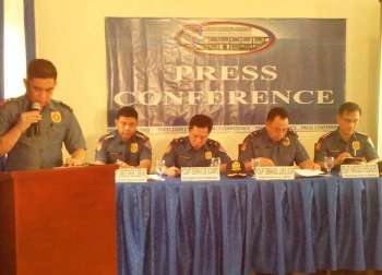 ZAMBOANGA. Superintent (Supt) Rodrigo Maramo, Police Regional Office (PRO)-Zamboanga Peninsula operation chief, provides security update on the members of the media in a press conference Friday, December 14. Seated from left to right were Senior Supt. Christopher Birung, the chief directorial staff; Chief Supt. Edwin de Ocampo, deputy regional director for administration; Chief Supt. Emmanuel Luis Licup, PRO-Zamboanga Peninsula director; and, Senior Supt. Narciso Verdadero, deputy regional director for operations. (Bong Garcia)