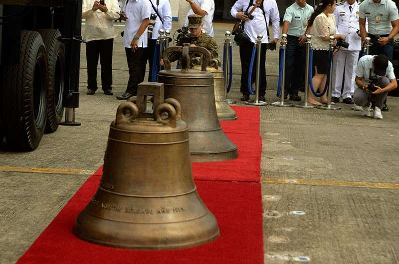 MANILA. In this photo taken on December 14, 2018, the three Balangiga bells are being readied for transport back to the church in Balangiga, Eastern Samar, more than 100 years after they were taken as war booty by American soldiers. (Al Padilla/SunStar Philippines)