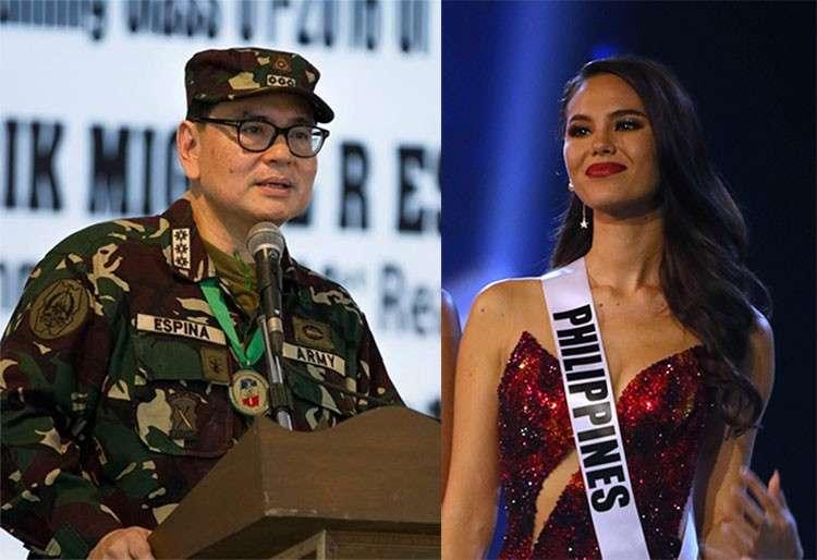 Cebu City Councilor Erik Espina and Miss Universe 2018 Catriona Gray (Photos from Espina's Facebook account and AP)