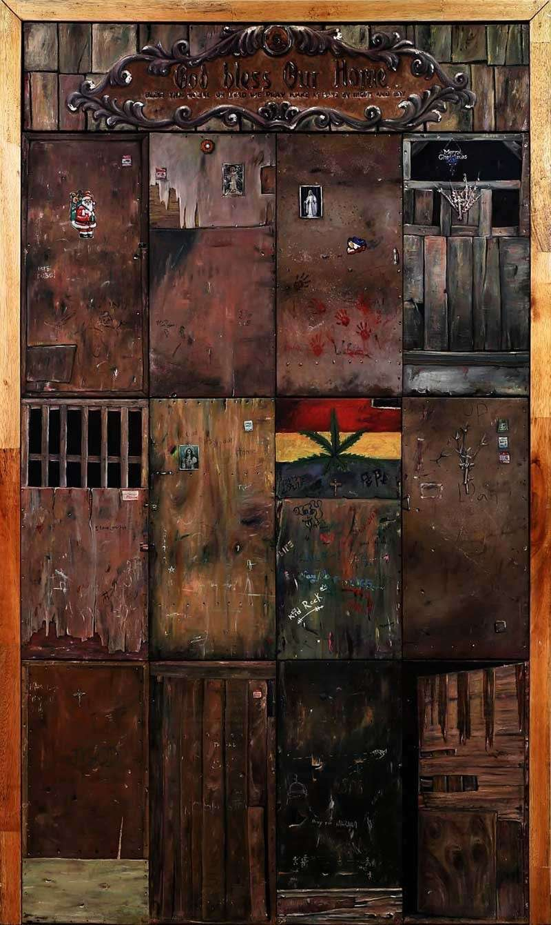 CAGAYAN DE ORO. Michael Bacol's winning artwork, a painting of various kids of doors, depicts the life of the family involved in the Tokhang campaign in the country. (Contributed photo from Michael Bacol)