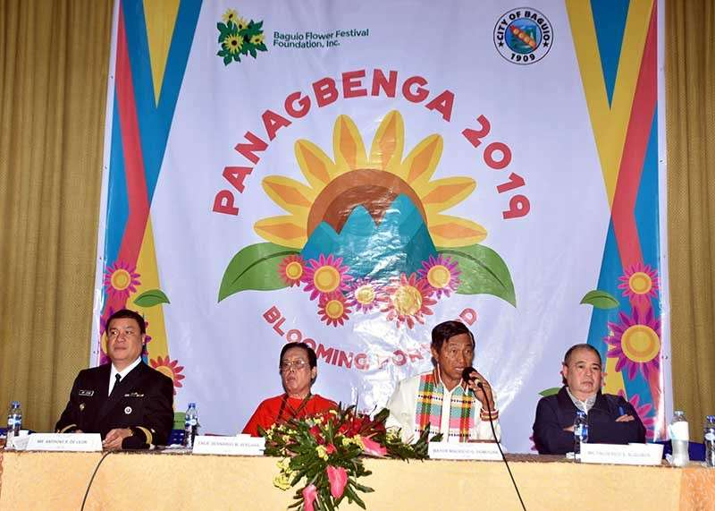 BAGUIO. Baguio City Mayor Mauricio Domogan assures Cordillera culture and tradition will be showcased during the Panagbenga 2019. Officials held a press briefing following the opening of the Panagbenga 2019 at the Baguio City Hall on Monday, December 17. (Photo by Redjie Melvic Cawis)
