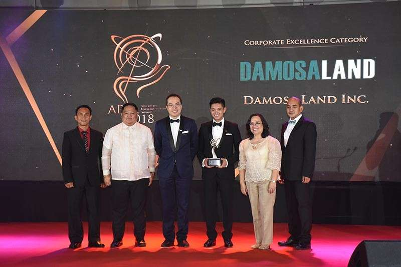 DAVAO. Capping the year with another recognition, Damosa Land is among this year's awardees of the prestigious Asia Pacific Entrepreneurship Award, side by side with Philippines' biggest and homegrown corporation and organizations. DLI was recognized in the property development category. (Contributed photo)