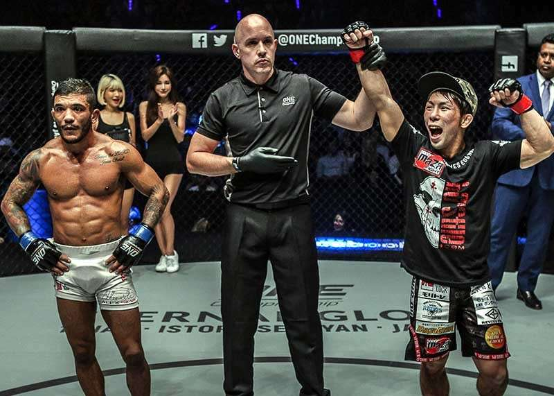 BAGUIO. With Hayato Suzuki out for an injury, ONE Championship strawweight world champion Joshua Pacio is set to defend his title against Yosuke Saruta on January 19. Saruta earned the title shot after shocking former world champion Alex Silva (left) in his ONE debut. (ONE Championship photo)