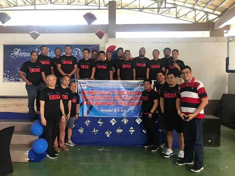 TACLOBAN. Participants of the basketball orientation and coaches enhancement program hosted by Eastern Visayas Collegiate Athletic Association pose for a photo opportunity during the two-day event in Tacloban City on December 15-16, 2018. The event was led by Michael Reyes Jr., the present head coach of South Western University Phinma, Seniors Team (front row, left), and Jerry Guzman Abuyabor, the present Regional Director for Eastern Visayas' Samahang Basketball ng Pilipinas, and the present head coach for South Western University Phinma, 18 and under Team (front row, second from right).