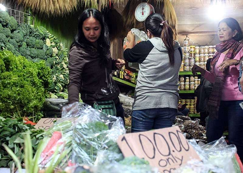 BAGUIO. Tourists purchase fresh and packed assorted vegetables sold at P100 in pasalubong centers along Marcos Highway. (Photo by Jean Nicole Cortes)