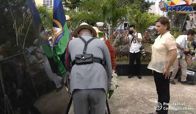DAVAO. Davao City Mayor Sara Duterte-Carpio leads the commemorative rites for the 122nd anniversary of the execution of Dr. Jose P. Rizal, the country's national hero, on Sunday, December 30, 2018, in Davao City. (Photo grabbed from RTVM video)