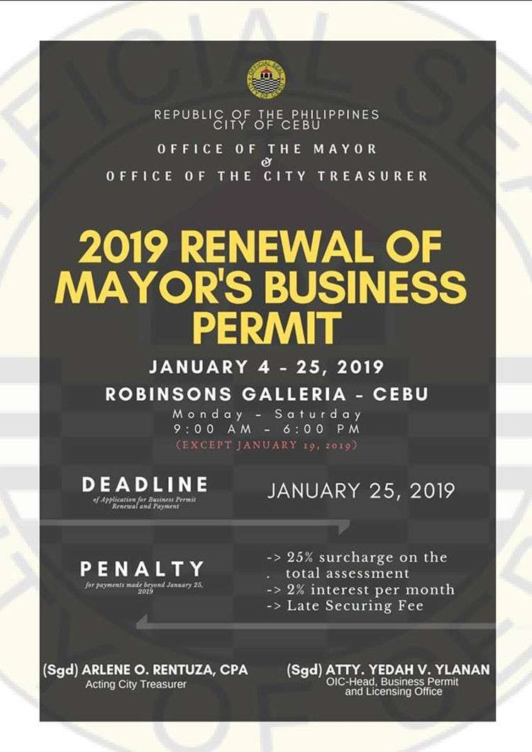 Cebu. Renewal of mayor's business permit. (Photo grabbed from Business Permit and Licensing Office)
