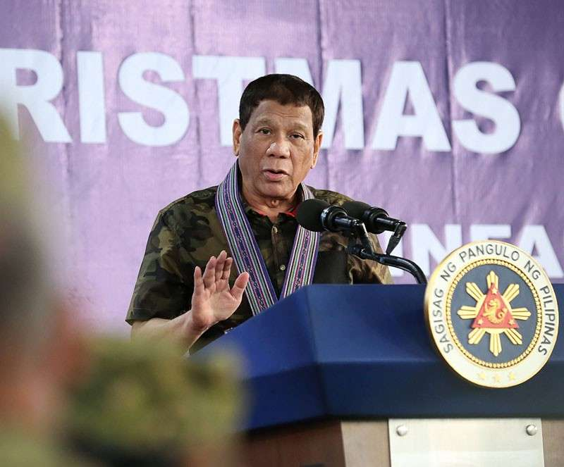 COMPOSTELA VALLEY. In this photo taken on December 22, 2018, President Rodrigo Duterte gives a speech during his visit to the 10th Infantry Division Headquarters at Camp General Manuel T. Yan Sr. in Mawab, Compostela Valley. (Photo from PCOO Facebook)