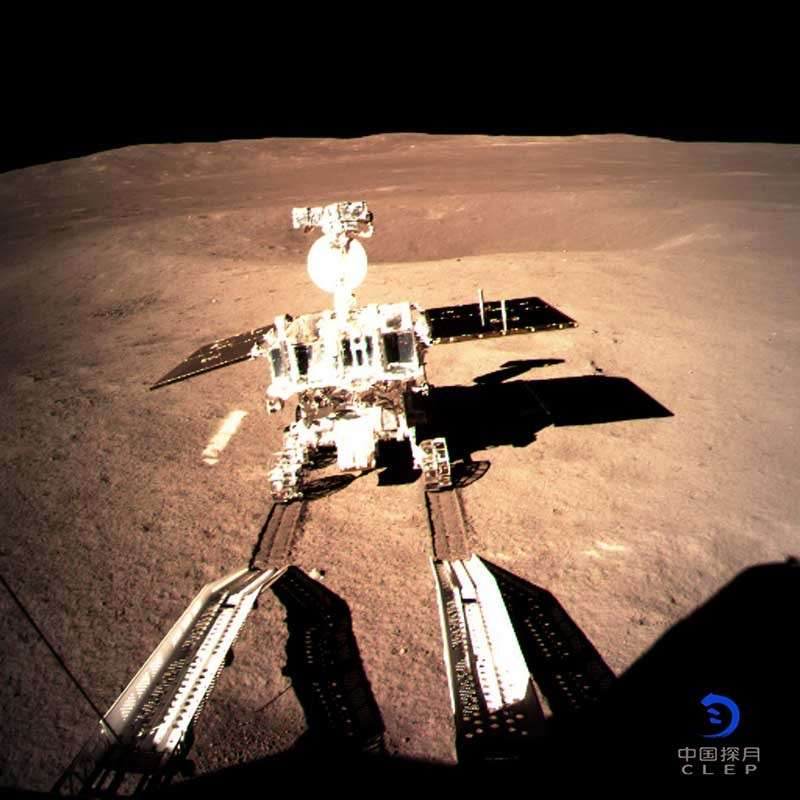 In this photo provided on Thursday, Jan. 3, 2019, by China National Space Administration via Xinhua News Agency, Yutu-2, China's lunar rover, leaves wheel marks after leaving the lander that touched down on the surface of the far side of the moon. (AP)