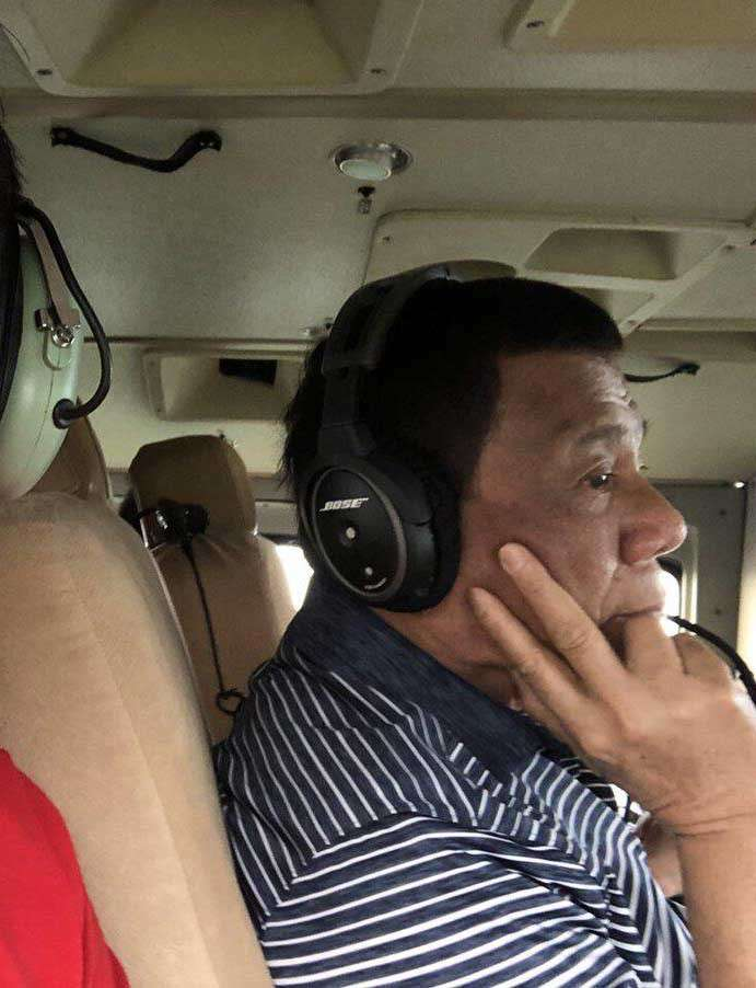 BICOL. President Rodrigo Duterte on January 4, 2019 flies over the landslide-hit and flooded areas in Bicol region in the aftermath of Tropical Depression Usman. (Photo by former Special Assistant to the President Bong Go)