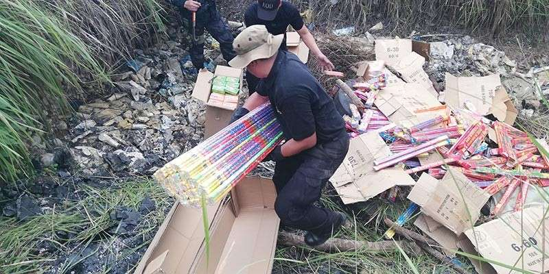 The Task Force Fireworks led the destruction of the seized illegal firecrackers during the holiday season. (PJ Orias)
