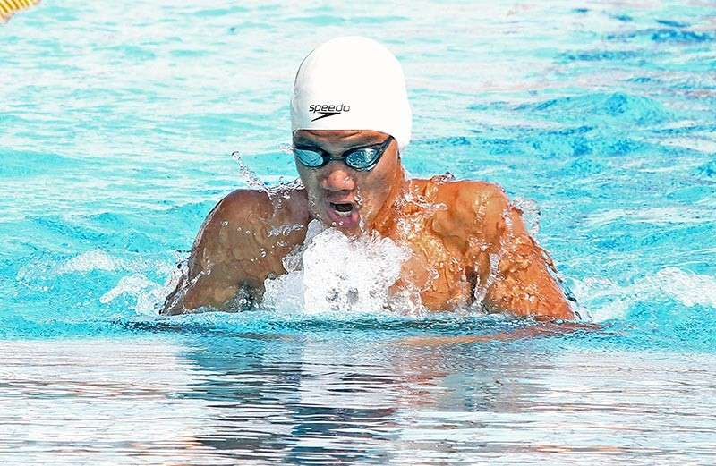 DAVAO. While former congressman Isidro Ungab says the Davao City-University of the Philippines Sports Complex swimming pool won't be ready for the Davraa Meet 2019, a Department of Education (Deped) Davao City official says bringing the swimming event to Tagum City is not yet confirmed. Davraa Meet-bound Davao City swimmer Edward Alfaro III here competes in the 10th BIMPNT-Eaga Friendship Games at the sprawling Hassanal Bolkiah National Sports Complex in Brunei Darussalam last December 2018. (File Photo)