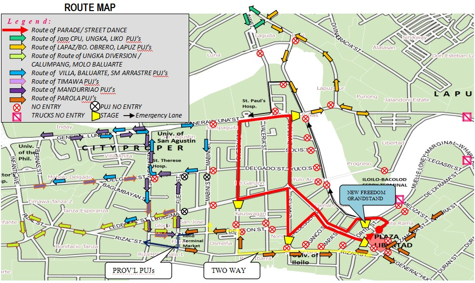 ILOILO. Temporary traffic route of vehicles in Iloilo City on January 11 for the Opening Salvo. (Photo courtesy of Public Safety and Transportation Management Office)