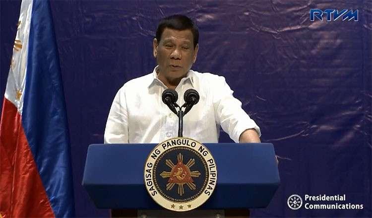 MANILA. President Rodrigo Duterte delivers a speech in Pasay City. (Screenshot from Presidential Communications)