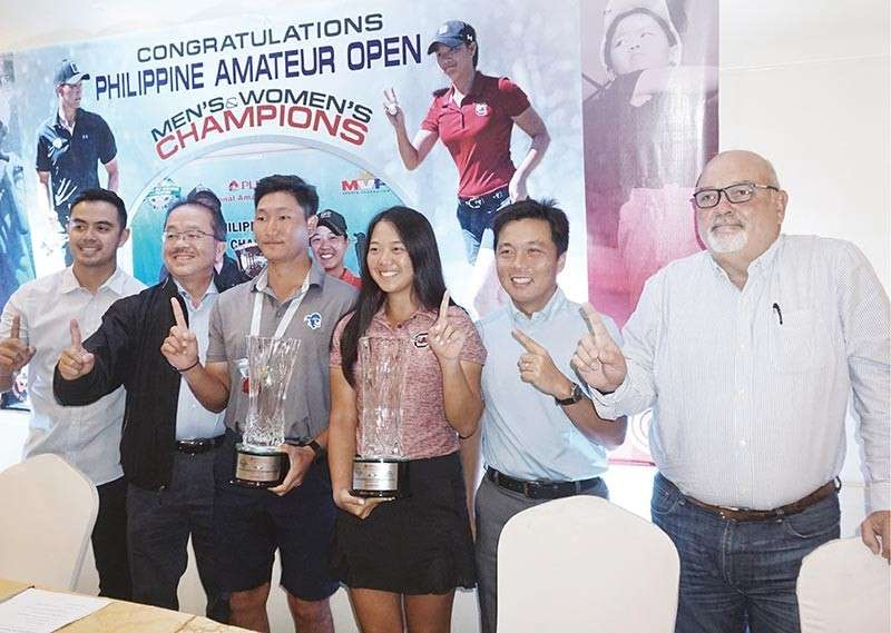 GREAT WIN. Gen Nagai and Lois Kaye Go (third and fourth from left) pose with Cebu Country Club officers (from left) Marko Sarmiento, Bob Gothong, Atty. Jovi Neri and Robert Booth during a press conference celebrating their victory in the Philippine Amateur Open. SunStar photo / Alex Badayos